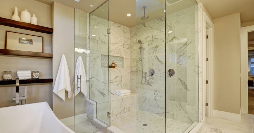 What Material Harmonizes for the Offset Quadrant Shower Tray in a Bathroom?