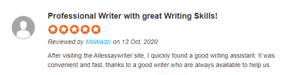 Allessaywriter.com is a household name in the educational service provider industry. Lately, the service provider has been receiving many assignment solving requests from the students. The latter claim that the experts provide A+ grade quality work, timely assistance, proofreading assistance, plagiarism and a plethora of other features. As per Topassignmentreviews.com, the company has a rating of 4 out of 5. As far as the online reviews are concerned, check out the following testimonials: